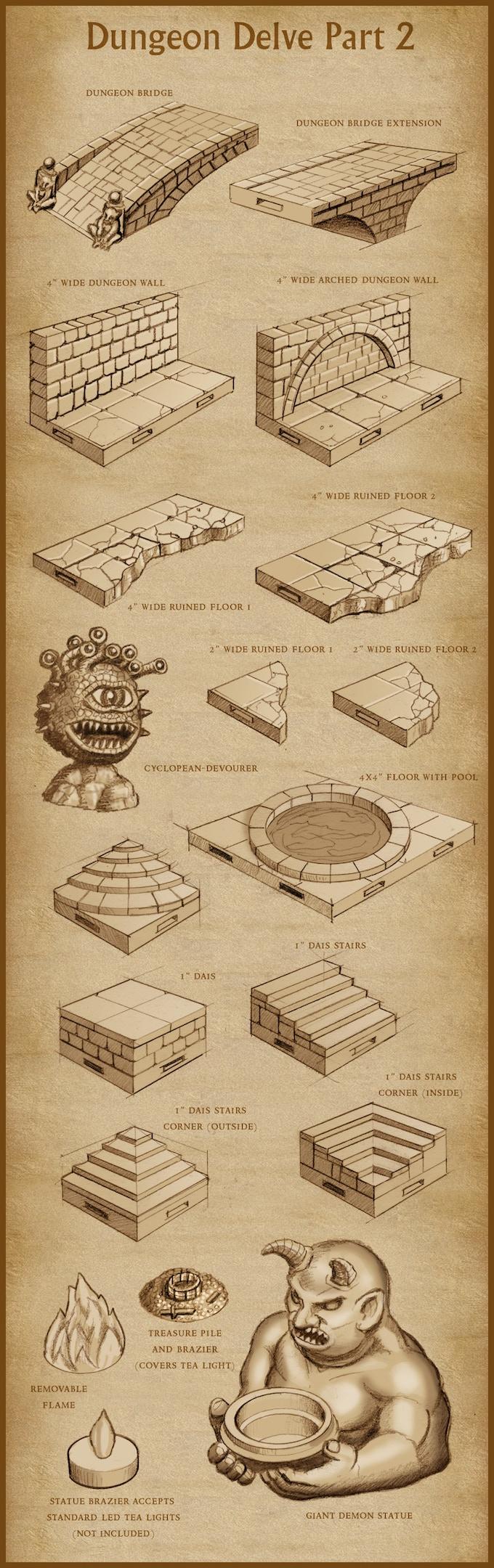'Dungeon Delve Part 2' pledge level (final design subject to change).