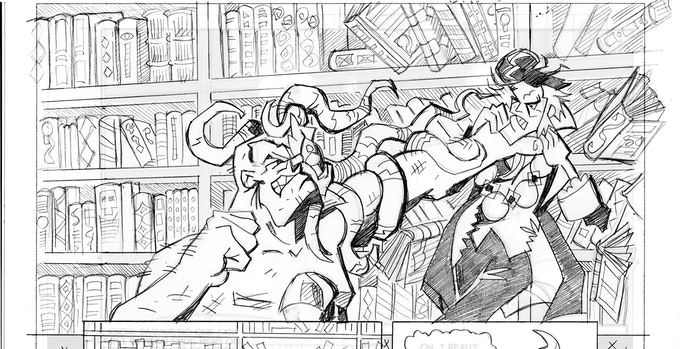 Issue 3's back up sees Squid-Eye vs the Mayor, pencils by Pete Taylor