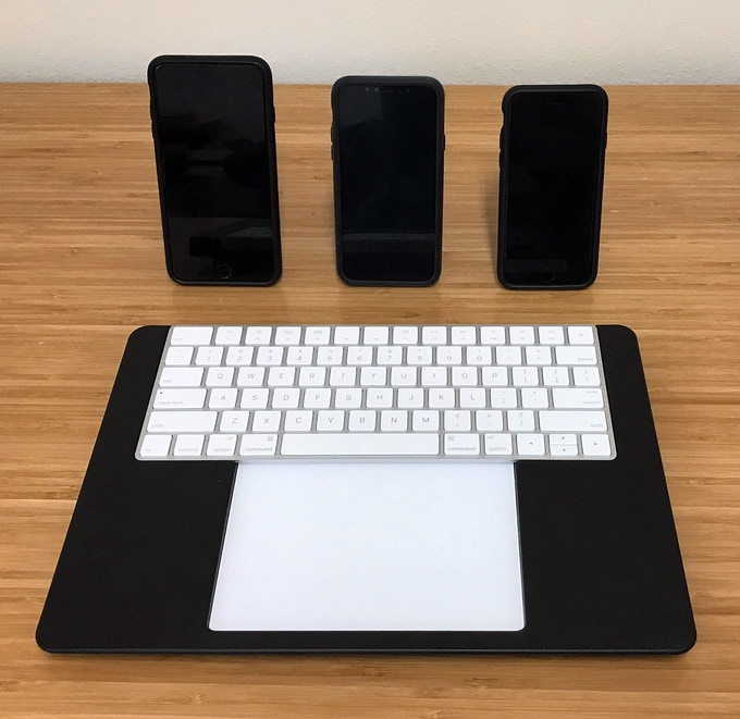 Stealth Black SAFE Wallets for iPhone 8 Plus, iPhone X, and iPhone 8 in front of new matching Stealth Black BulletTrain eXpress Keyboard Platform.