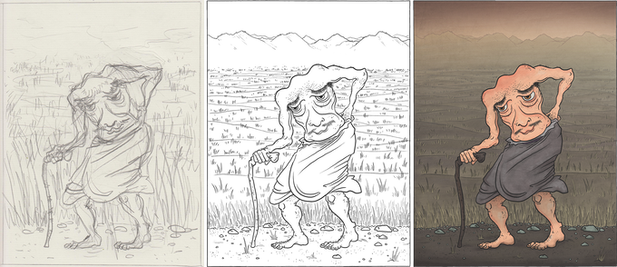 see the process of each illustration from sketching, to inking, to painting