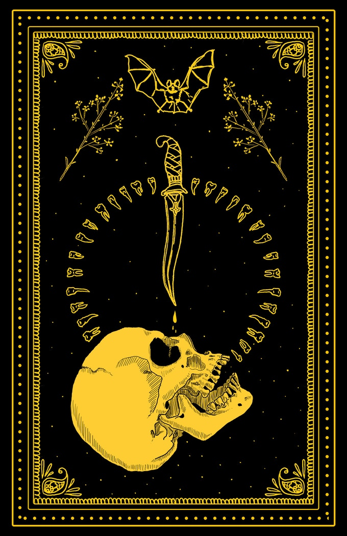 Limited edition screenprint with gold ink on heavy black coverstock