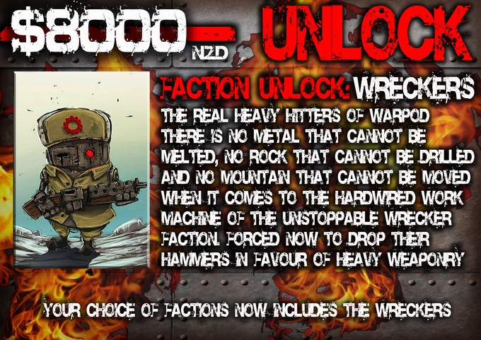 $8000 funded unlocks our fourth faction: the Wreckers!
