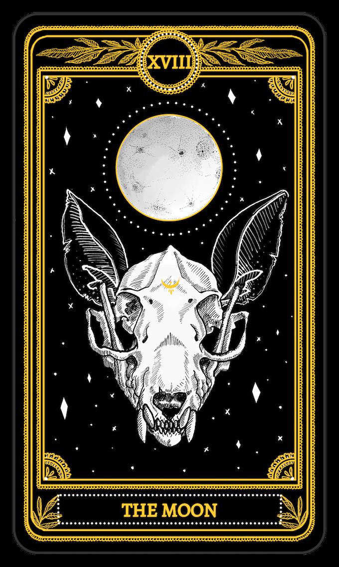 The Moon from the Major Arcana of the Marigold Tarot