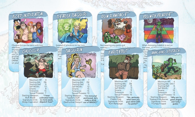 """Here are the four main hero cards with their coresponding """"Signature Drink"""" cards."""