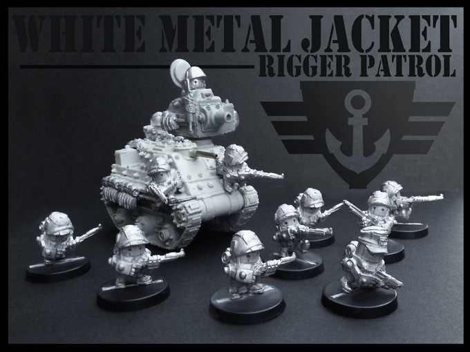 A small selection of 2nd Generation miniatures (Rigger Combat Brick with 'Clunk' Main Battle Crate)
