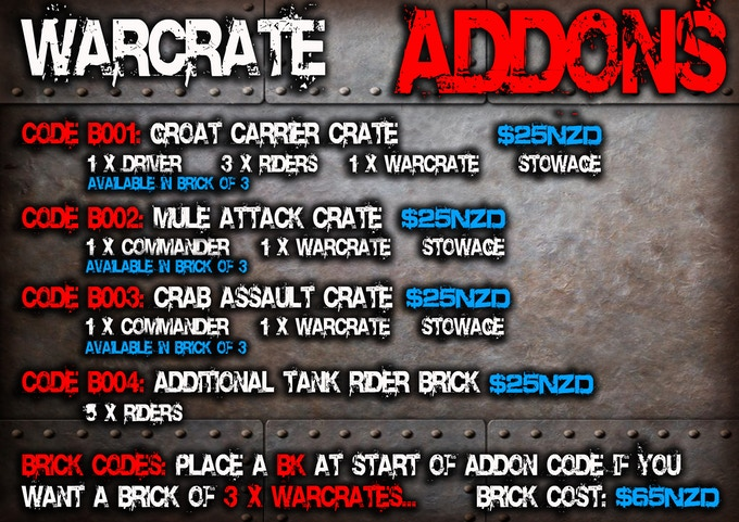 Addons for Warpods POD/NODE Armoured forces (Universal WarCrates)