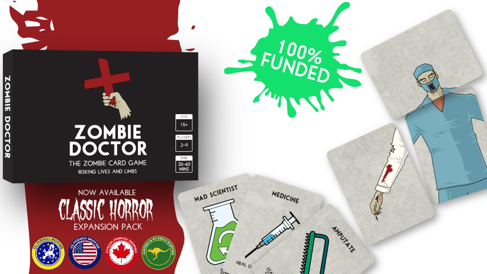 Zombie Doctor is a frantic card-turning game. Amputate, reattach and swap limbs to survive. It's your turn not to turn!