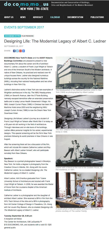 Designing Life - The Modernist Legacy of Albert C  Ledner by