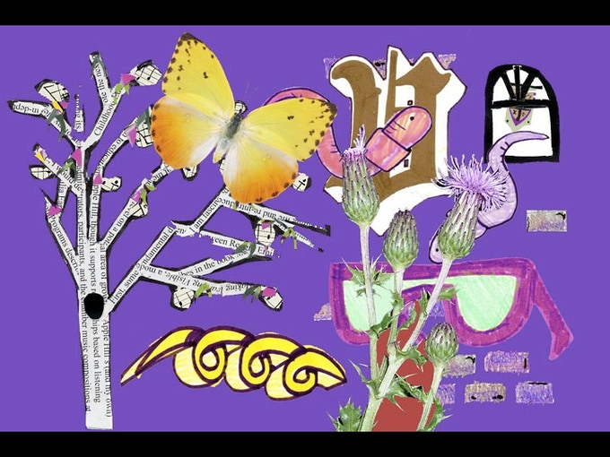 """Collage by Lewis Martinez & Marji Gere, for An Exciting Event's """"Moondog Madrigal Puppet Show"""""""