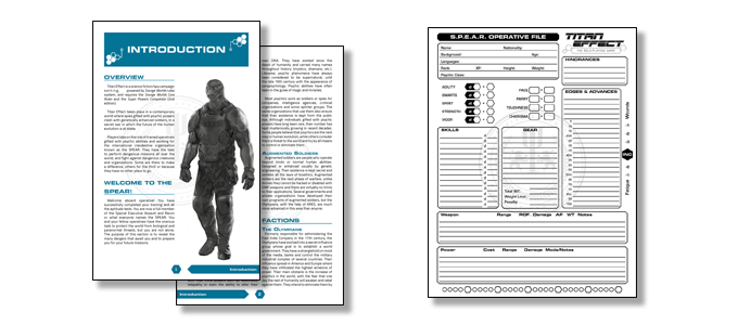 Titan Effect Demo Kit & character sheet