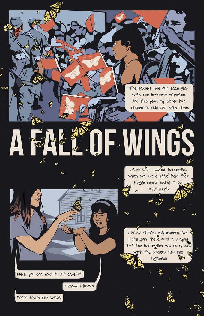 "A page from ""A Fall of Wings"" Artist / Letterer Abby Shaffer, Writer Rachel Halpbern, and Editor Kris Mackenzie"