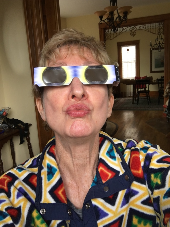 """A """"thank you"""" kiss (it's safe because I'm wearing approved eclipse glasses!)"""