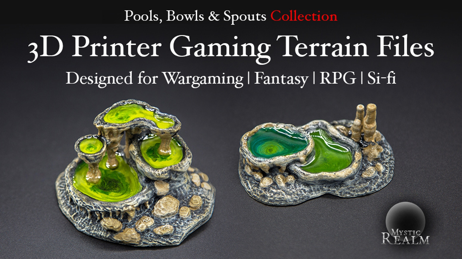 Printable terrain collection for 28mm/15mm table top gaming. Featuring Pools, Bowls & Spouts designs for both RPG & Sci-fi settings!