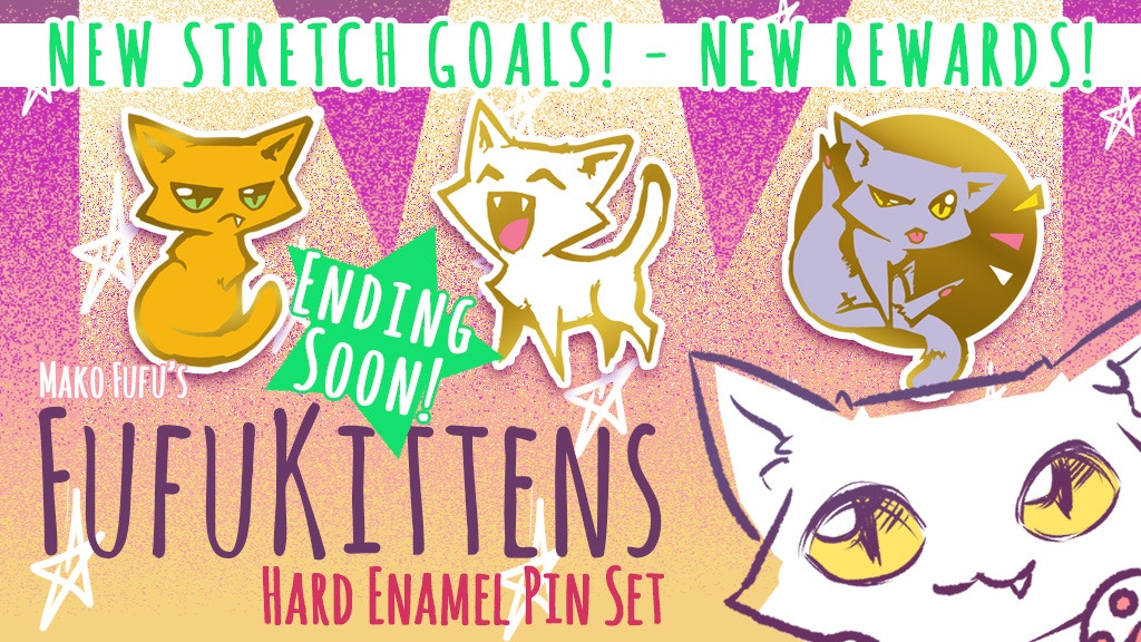 """Cute original kitties 1"""" Hard Enamel Pins. Set of 3 +8 stretch goal pins. Choose yours today! New Reward tiers and Stretch Goals added"""