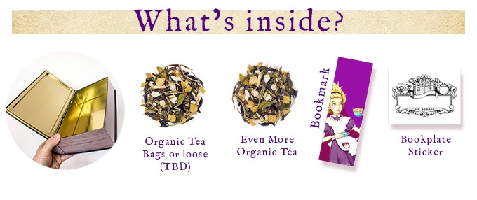 Each tin contains organic tea inspired by the original title.