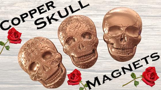 PREMIUM: Day of the Dead Skull Magnets - Pure Solid Copper