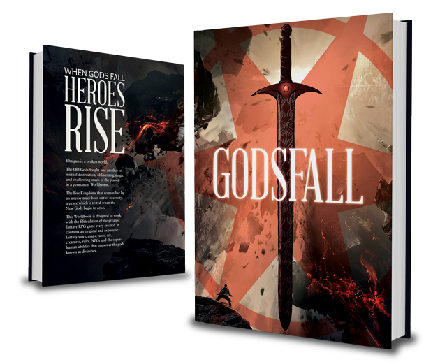 A Fifth-Edition Worldbook with all the divinities, maps, lands and people of Godsfall collected in a single, full-color tome.