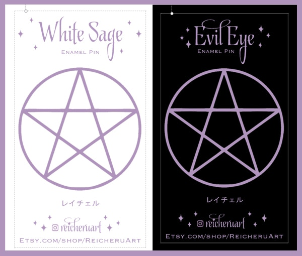 Witch Hands Enamel Pins - White Sage & Evil Eye by