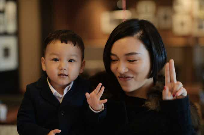 Du Han with her second child Comper