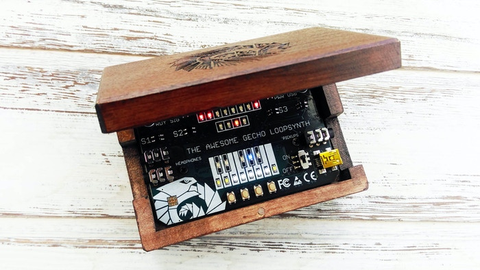 A business card-sized board in wooden box. Musical instrument for your active relaxation, plus open platform for experiments with sound and music making. Missed the campaign? No problem, I still have some left!