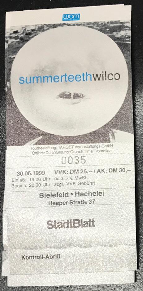 European Summerteeth tour ticket from 1999