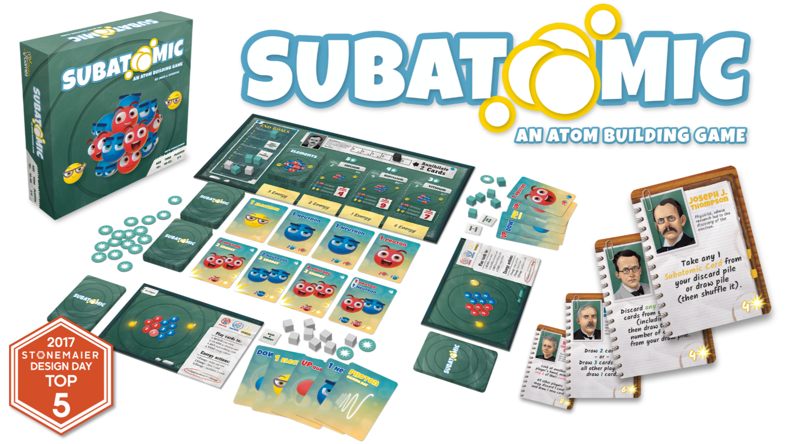 A deck-building game where particle physics & chemistry collide! Use quarks to build subatomic particles & particles to build Atoms!