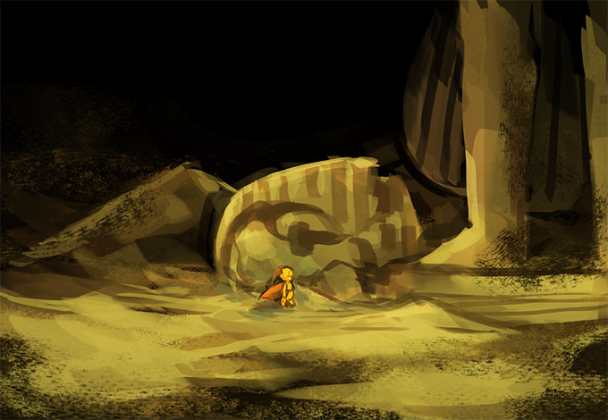 Travel through the sand covered vestiges of a kingdom that once was in the Trekked Desert. It's a long, lonely, journey, and the enemies are few and far between.