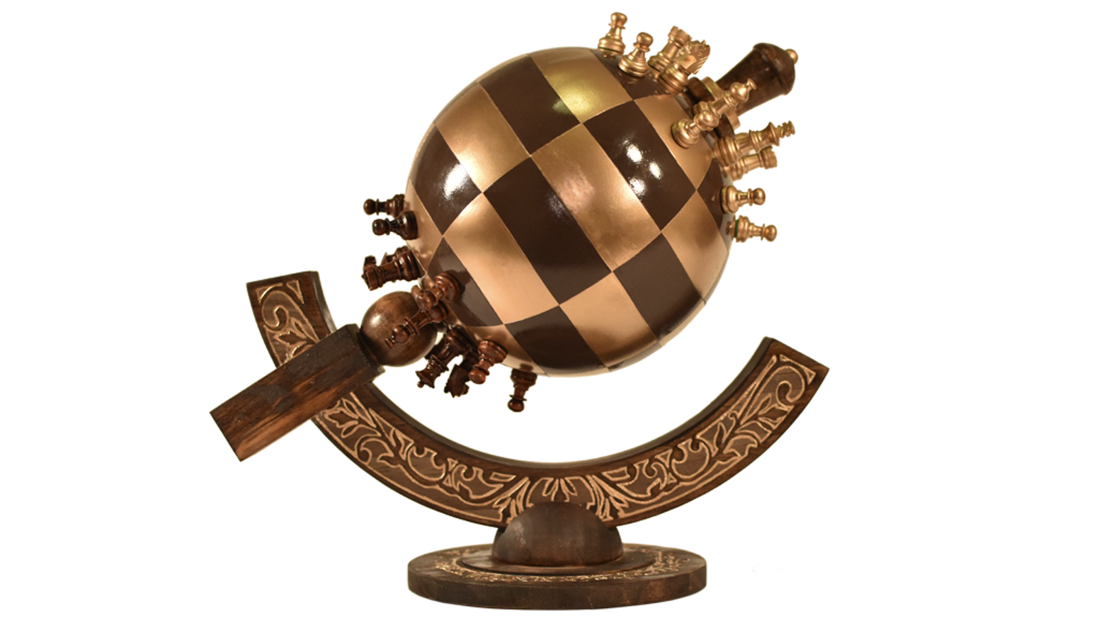 A fully playable spherical chess set including magnetic pieces, a finely crafted wooden base & a steel globe sphere.