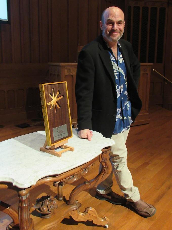 Peter Sagal receiving the Kurt Vonnegut Humor Award at VonnegutFest 2017