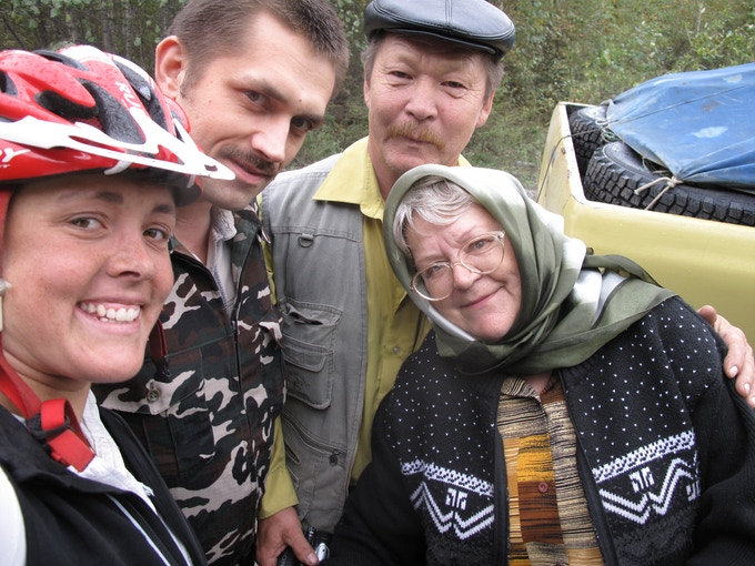 Strangers on the road in Russia