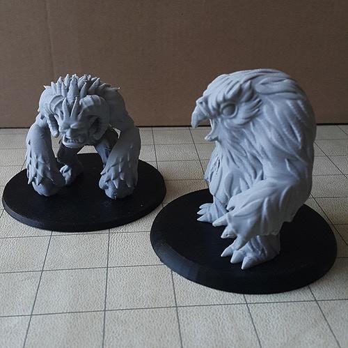 OwlBear and Yeti printed with PLA