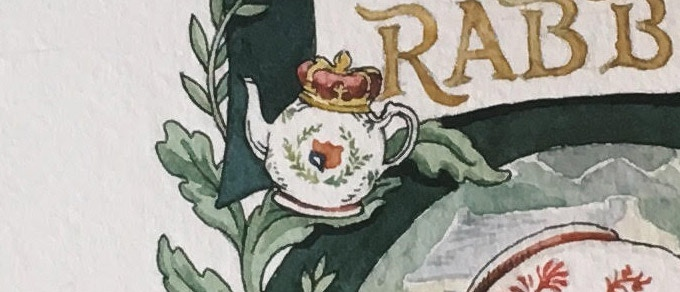 Did you know? The tea pot seen on the front and back of Pu'er Rabbit is based on Beatrix Potter's own Edward VII Coronation Tea Pot. It also appears in one of her stories; do you know which one?