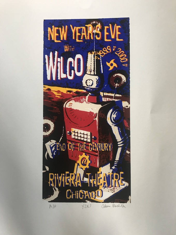Very rare Artist Proof hand screen printed New Year's Eve 1999-2000 from the Riviera Theater, Chicago, signed by the artist and former sound engineer and stage technician Adam Roehlke.