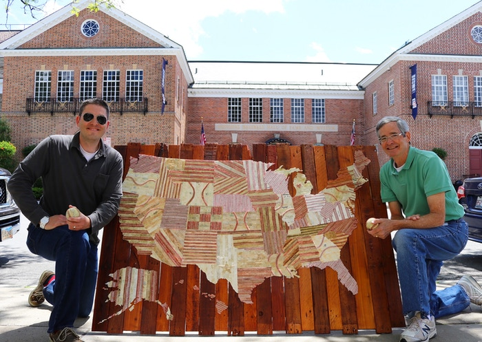 50 States, 50 Stories, 1 powerful image: a 5 Foot United States Map handmade from tattered seams & leather of old baseballs.