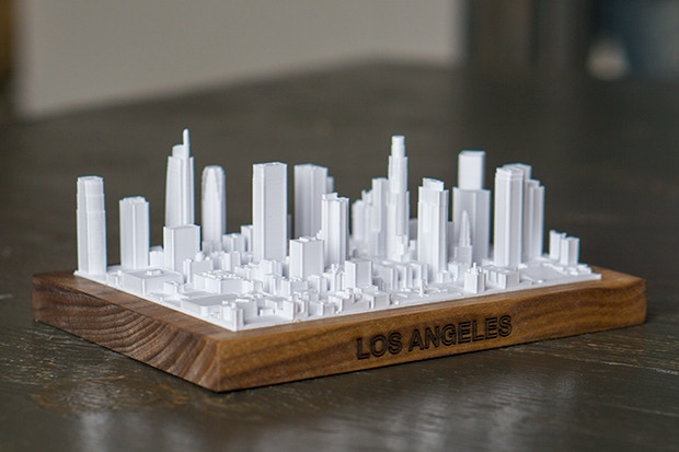 This is a to-scale model of downtown Los Angeles. The boundaries are set by the roads, Fremont Ave, W 3rdSt, Hill St, and W 8th St.