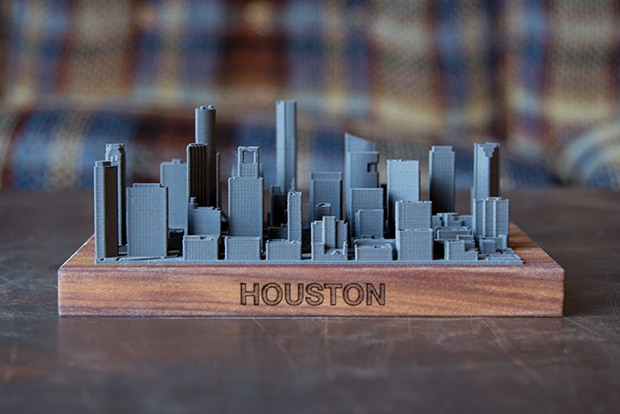 This is a to-scale model of downtown Houston. The boundaries are set by the roads, Bagby St, Texas Ave, Austin St, and Clay St.