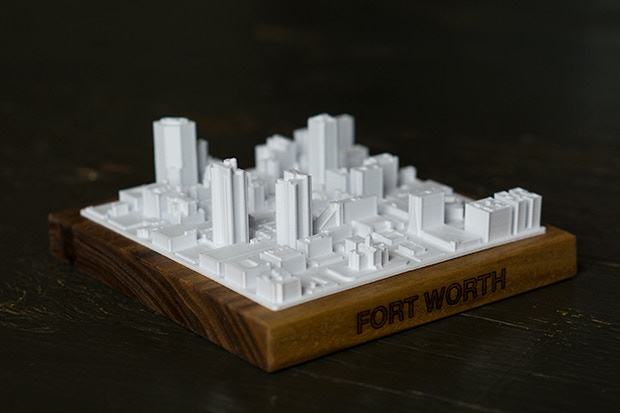 This is a to-scale model of downtown Fort Worth. The boundaries are set by the roads, W Belknap St, Jones St, W 7th St, and Bernett St.