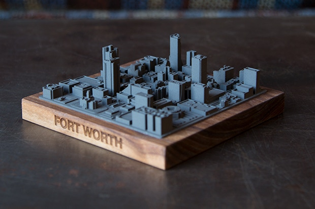 Perspective view of the metal Fort Worth skyline.