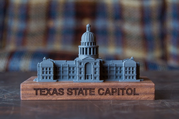This is a to-scale model of the Texas State Capitol building located in Austin, TX. The building stands 308ft tall; it is 2.64in in this model (67mm).