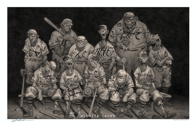 "Wichita Crows 1932 - signed print 11"" x 17"""