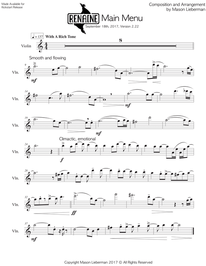 The sheet music of the main theme, this song went through quite a few iterations to get the feel just right!