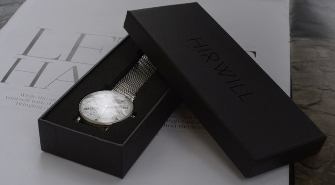 A customized black box ensures the watch a safe ride home to you backers