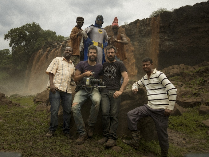 The actors with Miguel, the cinematographer Isra Seoane and the production assistants at Nile falls.