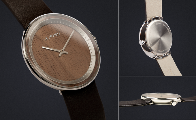 THE STEEL - crafted from natural walnut wood & stainless steel. Comes with a genuine dark brown leather strap.