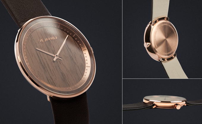 THE ROSE - crafted from natural walnut wood & rose gold stainless steel. Comes with a genuine dark brown leather strap.
