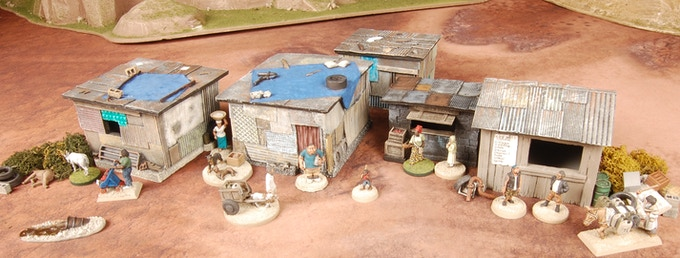 Small Village Pledge Level only comes with the five unpainted buildings.