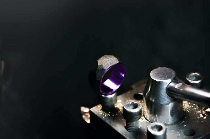 Crystal Royalty ring with acid purple Titanium insert.