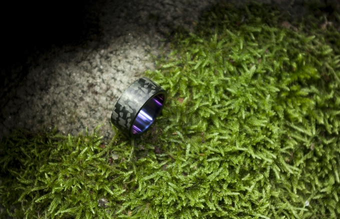 Wide Minimalist Royalty ring with acid purple Titanium insert.