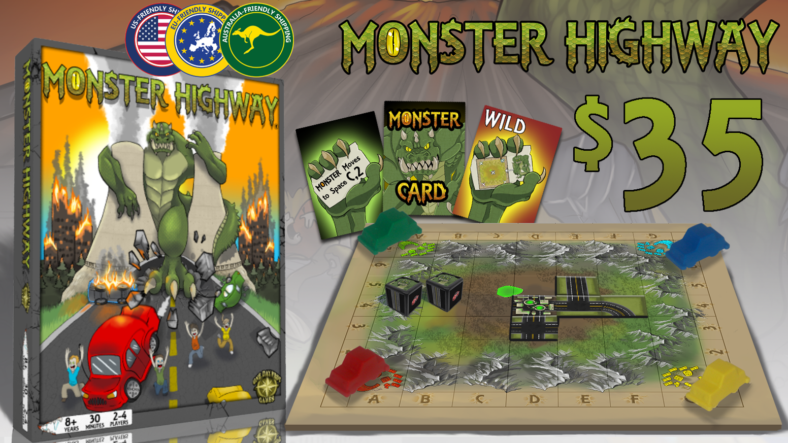 A tile placement game where 2-4 players roll two specialty dice to build roads, move their cars and avoid a radioactive monster.