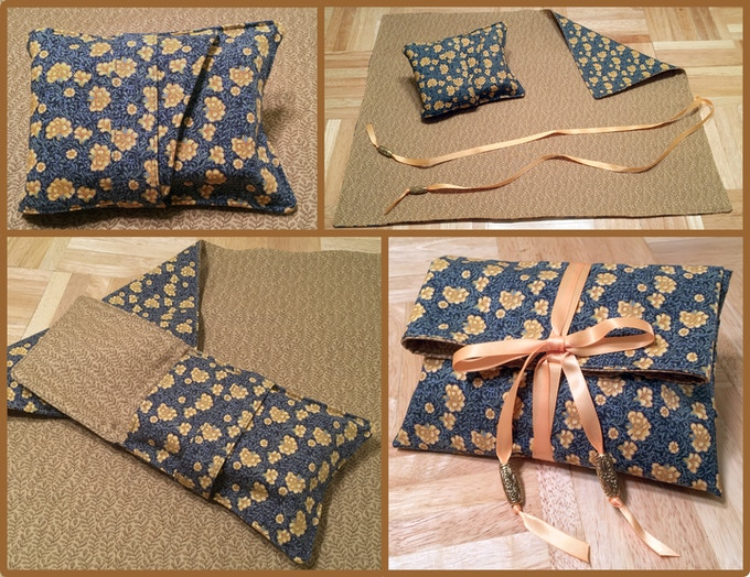Stroll through the Meadow: Wallet-style bag and mat for tarot card spreads, made from late 1800s reproduction fabrics